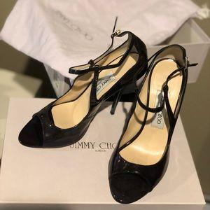 Jimmy Choo Eliza Petrol Patent Heels